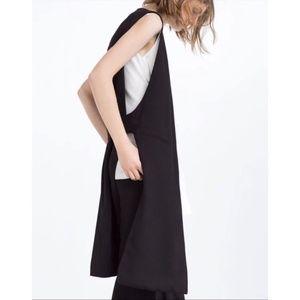 Zara Long Black Waistcoat With Vent Size S